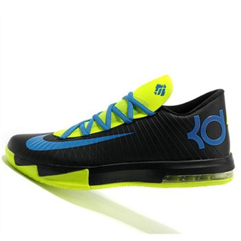 Designer Nike KD6 black color Fluorescent green Kevin Durant Basketball shoes