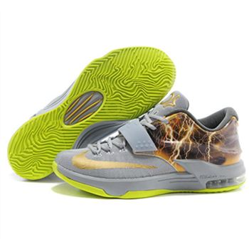 Cheap NIKE KD VII KD 7 New Grey Yellow Shoes